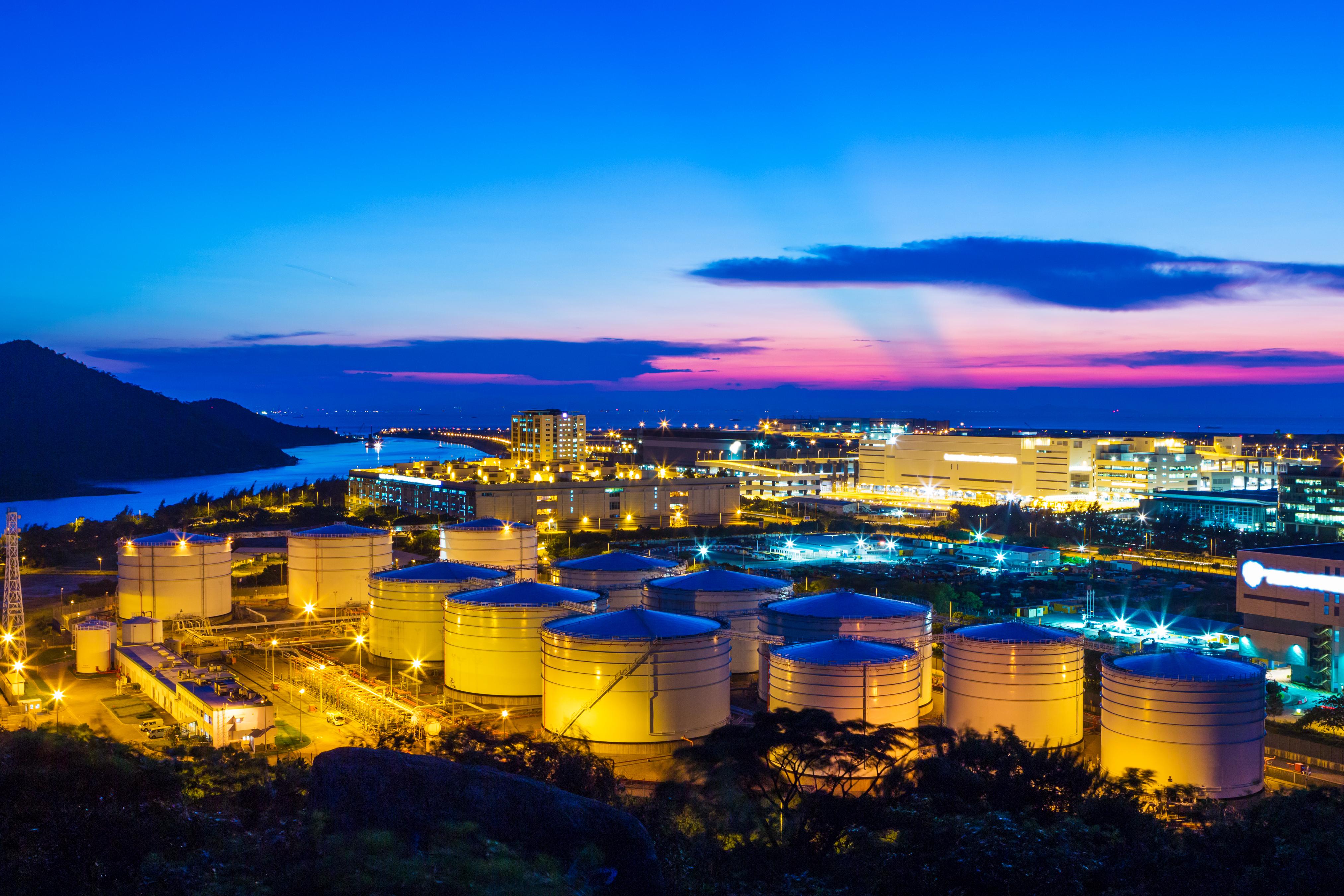 Oil tank in the twilight